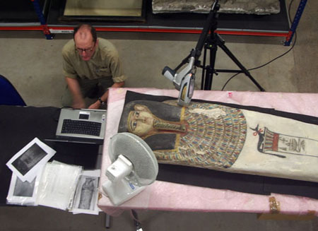 XRF analysis of an Egyptian sarcophagus in Glasgow Museum Resource Centre