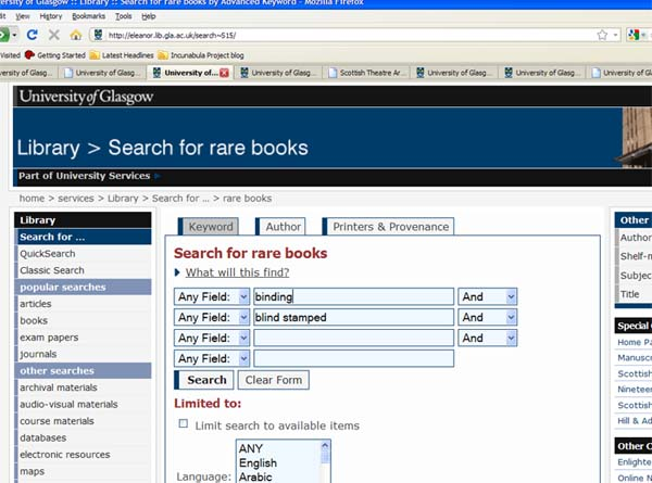 Screenshot of copy specific search