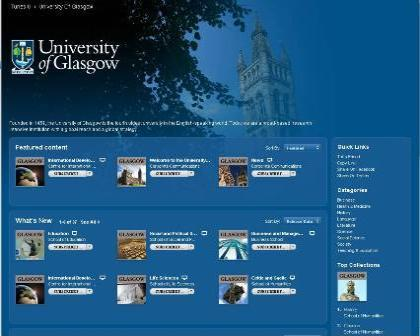 Screenshot showing the Unviersity of Glasgow iTunes U home page