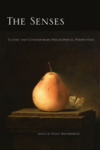 book cover: black background wth a small oil painitng of the close-up of a golden-red pear with a white butterfly behind it, both on top of a short plinth. title reads The Senses
