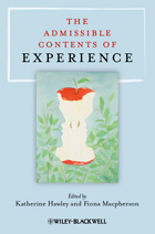 book cover: light blue background with a small square painting of a nearly-eaten red apple, in the contours of which two face profiles appear. the title reads the admissible contents of experience