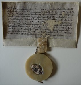 Charter of donation and mortification by King Robert Bruce in favour of the Friars Preachers of Glasgow of twenty merks sterling, 28 April 1316. (GUAS Ref: GUA12357. Copyright reserved.)