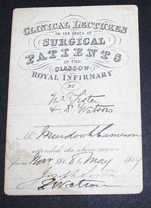 Murdoch Cameron's hospital ticket signed by Lister © Royal College of Physicians and Surgeons of Glasgow