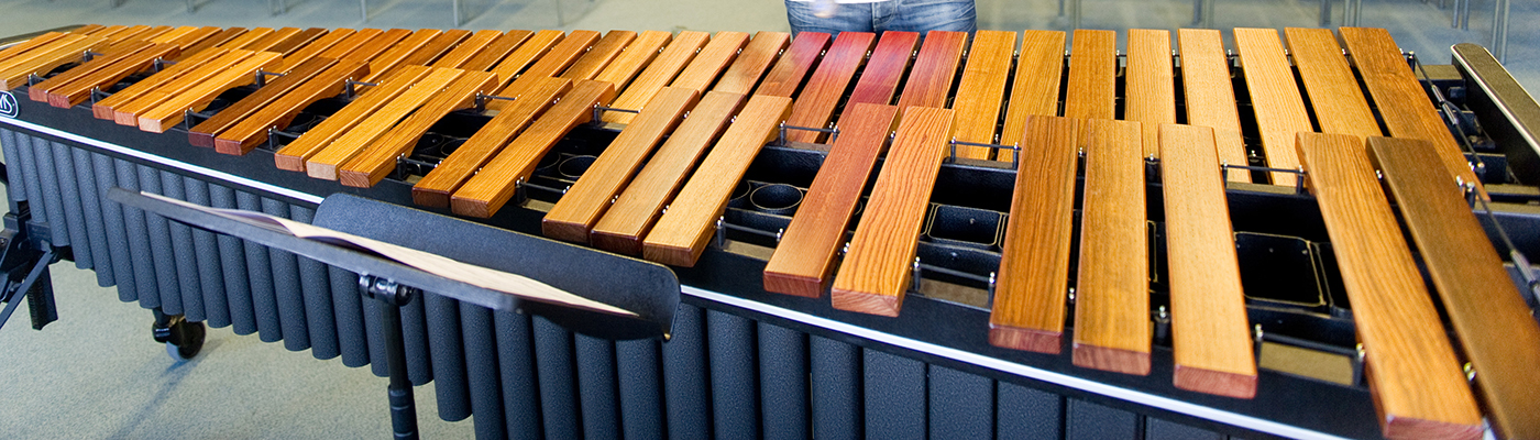 Undergraduate percussion student practices on Glasgow's 5 octave Adams Marimba