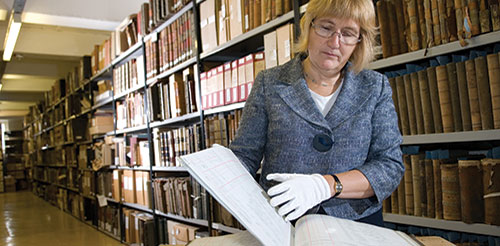 Lesley Richmond in the archives