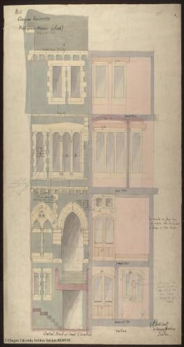 A plan of Professors' Houses designed by Gilbert Scott for the University