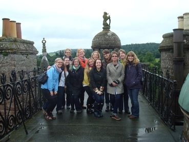 Students and staff on the roof of Glamis Castle during the Treasure Houses course, July 2012.
