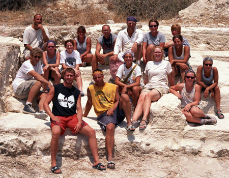 The 1999 team on the quarried outcrop in Area A