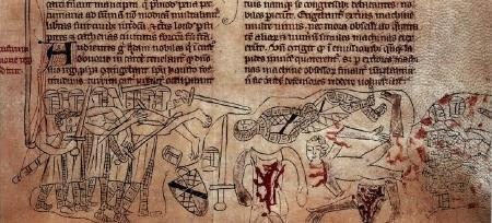 Detail from Battle of Evesham and death of Simon de Montfort from the 'Commendatio Lamentabilis in transitu Edward IV'