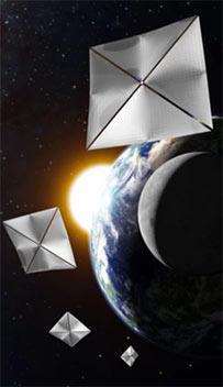 Composite image of solar sails in space
