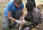 Professor of Comparative Epidemiology Sarah Cleaveland is working on research into rabies elimination in Africa through dog vaccination.