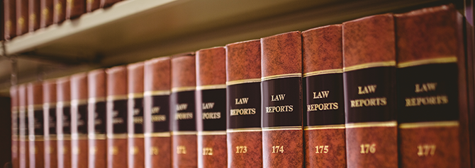 Law reports on shelf