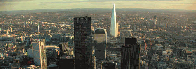 Aerial drone photo of iconic City of London skyline
