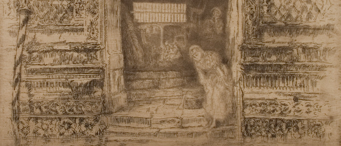 A section of 'The Doorway'(1879/1880), an etching by James McNeill Whistler, Hunterian Art Gallery
