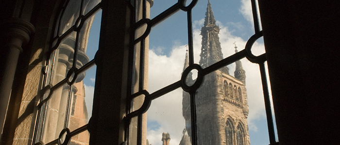 Glasgow University tower through windows