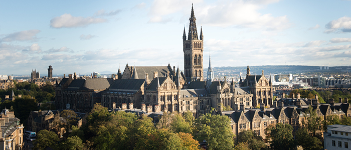 high shot of Glasgow University campus and main building