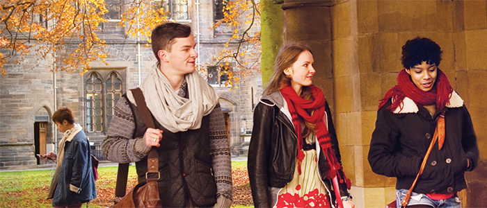students in the cloisters at Glasgow University, in autumn