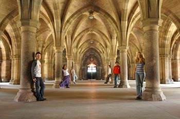 Students standing in cloisters