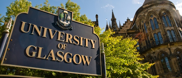 University of Glasgow sign outside front entrance