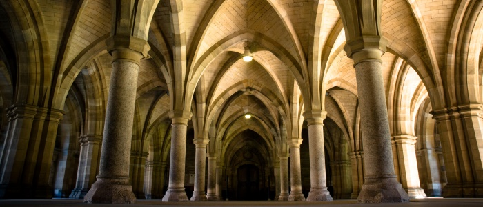 Low angle of the University of Glasgow cloisters