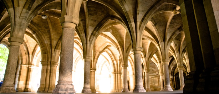 Low angle of the University of Glasgow cloisters - day