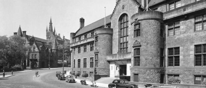 Black and white photo of the Glasgow University Union (GUU)
