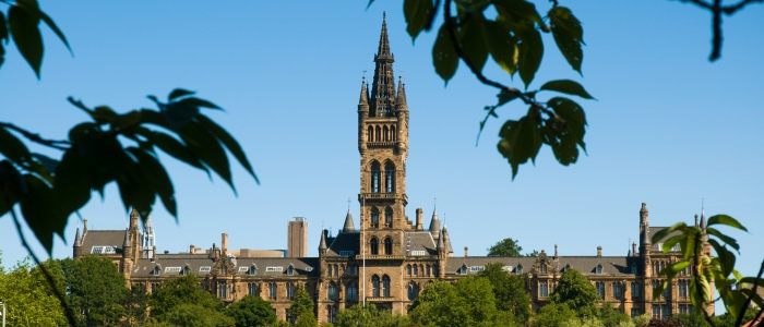 University of Glasgow main building view from bowling green