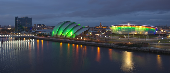 The SECC, The Hydro and UofG at night