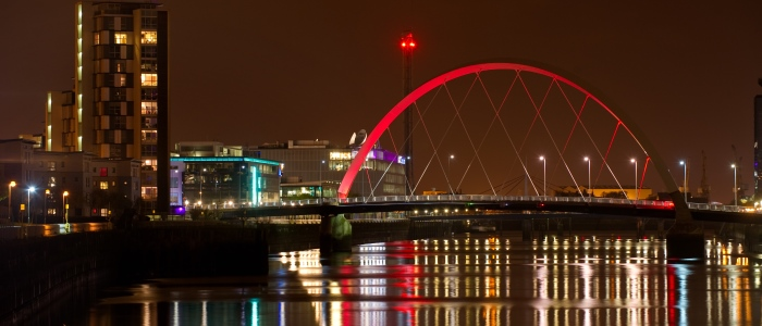 Night view of the Clyde Arc & Science Centre tower