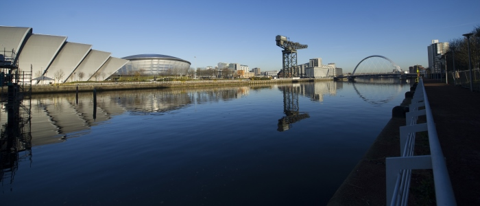 River Clyde with landmarks and reflections