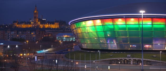 Night view - UofG main building and the Hydro