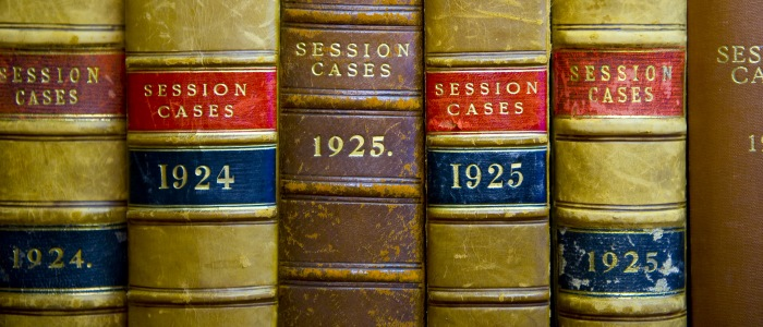 Close up of law books on session cases