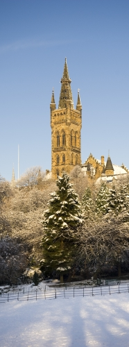 University tower in winter