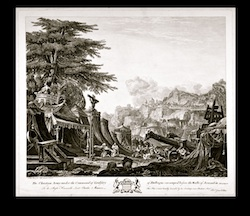 Monochrome print depicting the Christian Army under the command of Godfrey of Bulloigne.  A large tree, a city scape and Mountains for the backdrop to a scene of Army tents of Middle Eastern style, and a number of soldiers kneeling to worship a large upright crucifix figure. Two large weapons on wheels are visible at the right side (catapult or Trebuchet)
