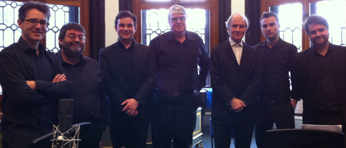 The Tristia II ensemble following the performance with composer Hafliði Hallgrímsson and conductor William Sweeney.