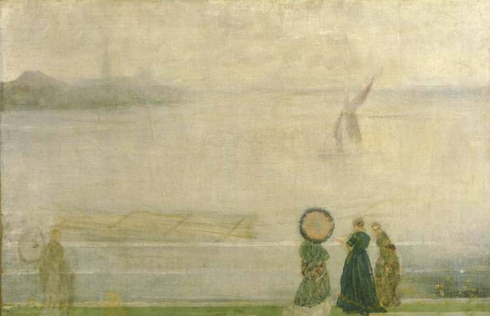 Whistler painting of people at the sea shore