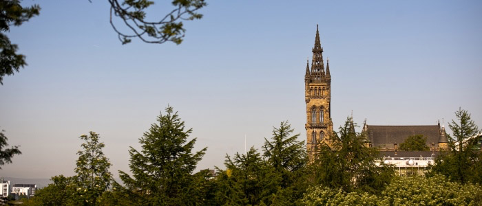 Main Building tower from Kelvingrove Park