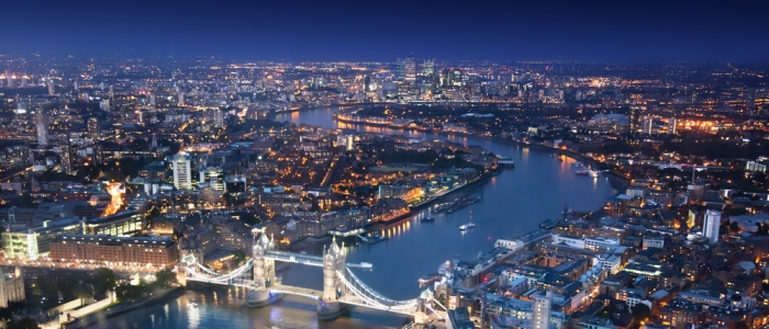 Image of the London skyline at night