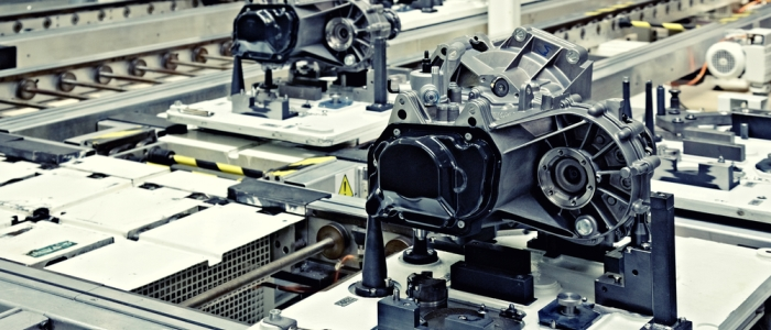 A production line for motor engines