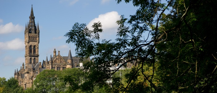 the University Tower and trees in Kelvingrove Park