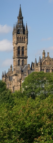 the University tower and main building from Kelvingrove Park