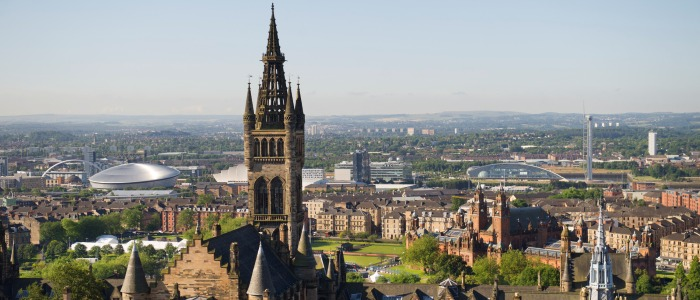 A view of Glasgow including the Hydro, University Tower and Science Centre, taken from the Library.