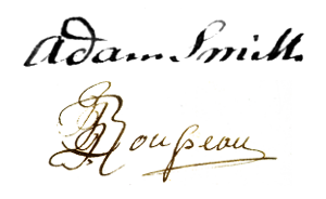 Adam Smith and Jean-Jaques Rousseau's signatures