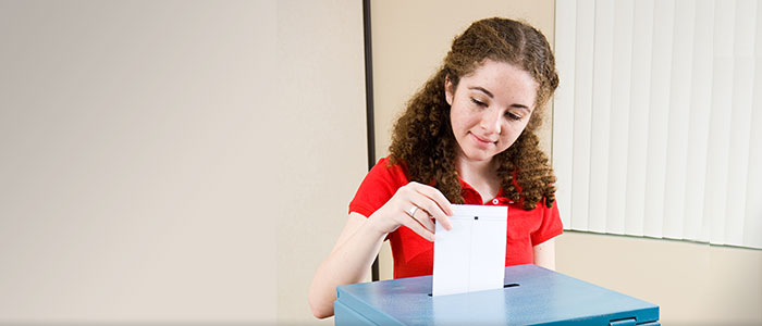 young girl voting