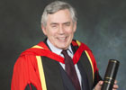 Image of Gordon Brown with honorary degree. April 2015