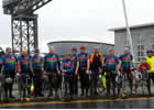 The Pedaling Profs at the Squinty Bridge after their ride from Newcastle