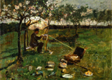 A man painting at an easel under a tree.