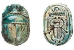 Stone scarab, 2.5cm long, 18mm wide; Found in Egypt