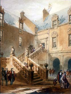 "A picture of a courtyard and stairway from the original Glasgow University campus.  Academics and their families depicted in period dress. GLAHA:42122, ""The Lion and Unicorn Stair, Old College, Glasgow"", Dennistoun, William, 1868 - 1868, watercolour, drawing, watercolour on paper"