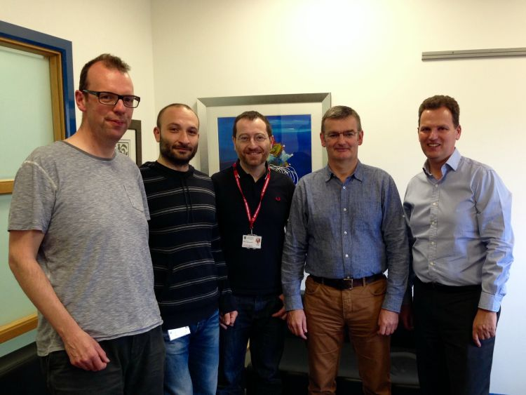 From L to R: James Brewer, Gianluca Grassia, Pasquale Maffia, Paul Garside, Iain McInnes. Other University of Glasgow Scientists not pictured Neil MacRitchie, Gary Dever, Peter Gordon, Francis Burton, Suleman Sabir.